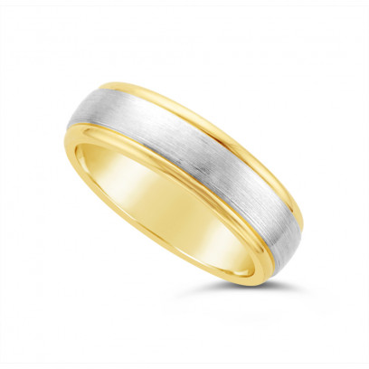 9ct Yellow Gold Gents 6mm Heavy Weight Court Wedding Ring, With A 3.5mm Satin 9ct White Gold Centre Band, With A V Groove On Each Side Of The White Gold
